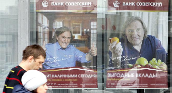 """Der französische Schauspieler Gérard Depardieu trat 2012 im russischen Fernsehen in einem Werbespot für die """"Sowjetische Bank"""" auf. Foto: Alexej Danitschew / RIA Novosti"""