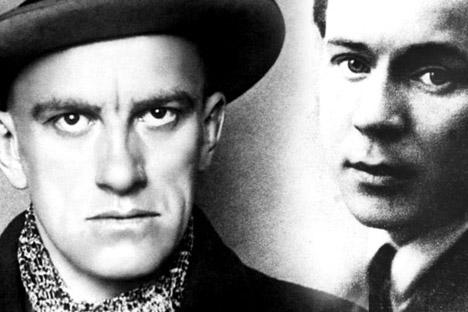 Russische Dichter Vladimir Majakowski (links) und Sergej Jessenin (rechts). Foto: ITAR-TASS