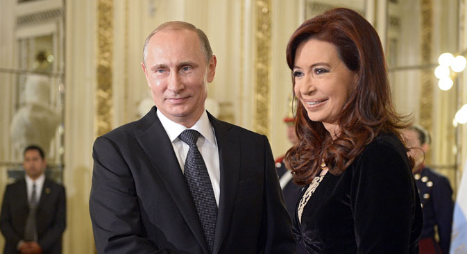 Der russische Präsident Wladimir Putin während seines Staatsbesuchs mit der argentinischen Präsidentin Cristina Fernández de Kirchner. Foto: RIA Novosti