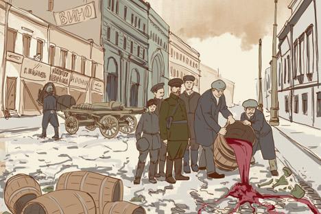 Als in Russland das Trockengesetz eingeführt wurde, nahm auf den Dörfern die Schwarzbrennerei zu. In den Städten konsumierten Alkoholiker als Ersatz vergällten Spiritus, Politurmittel oder sogar Lacke. Bild: Natalia Michajlenko