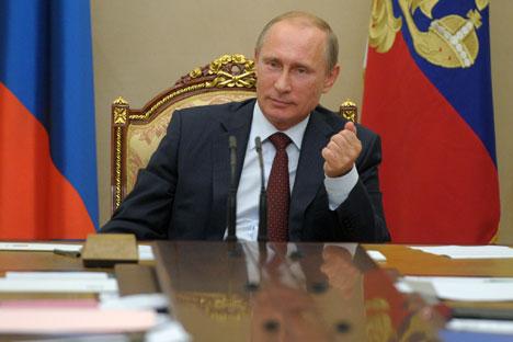 Laut einer Umfrage sind die Russen mit ihrem Präsidenten hochzufrieden. Foto: Alexej Druschinin/RIA Novosti