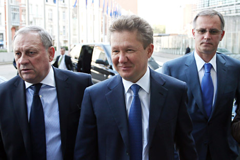 CEO of Gazprom Alexei Miller (C) has got the highest position.