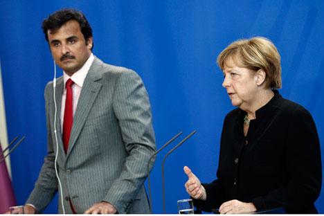Die Bundeskanzlerin Angela Merkel während des Treffens mit dem Emir von Katar Sheik Tamim Bin Hamad al-Thani am 17. September in Berlin. Foto: Reuters