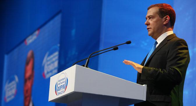 """Dmitri Medwedjew: """"Die Annäherung, die gerade zwischen Russland und Asien stattfindet, ist Teil eines längeren Prozesses, da wir diese Wirtschaftspolitik bereits vor etwa zehn Jahren begonnen haben"""". Foto: Jekaterina Schtukina/RIA Novosti"""