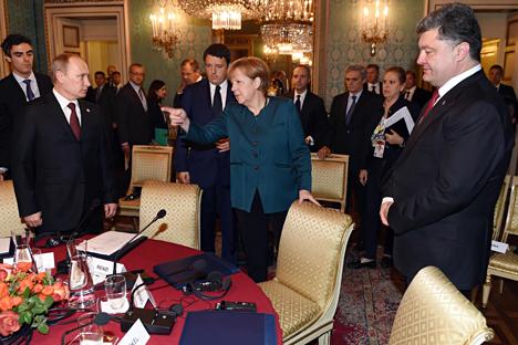 In Mailand einigten sich Poroschenko und Putin auf weitere Gaslieferungen. Foto: AFP/East News
