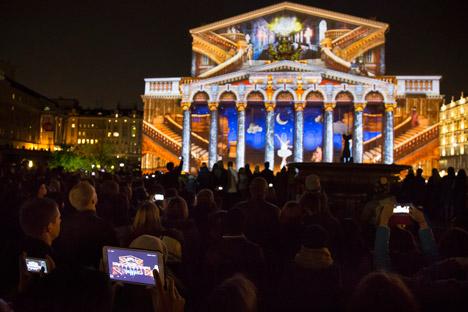 Lichtinstallation an der Fassade des Bolschoi-Theaters. Foto: AP