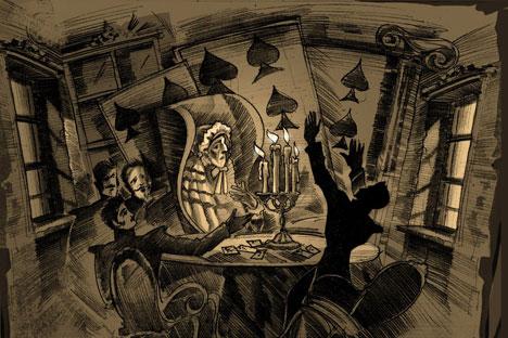 """Puschkins """"Pique Dame"""" hat Johannes von Guenther zu einer typisch russischen Kriminalgeschichte erklärt, hier abgebildet auf einer Grafik von Alexander Benua. Foto: Wikipedia.org"""