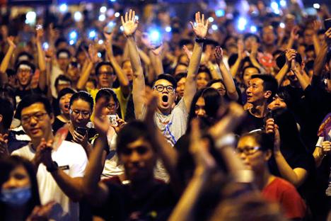 Die Protestierenden auf der Straßen von Hongkong. Foto: Reuters