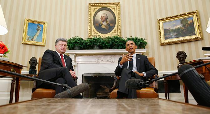 Barack Obama und Petro Poroschenko besprachen in September die Minsker Verhandlungen zur Ukraine-Krise. Foto: Reuters