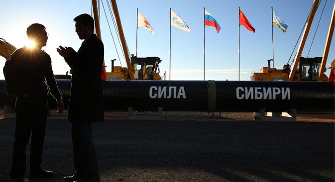 """DIe Pipeline Sila Sibirii (zu Deutsch: """"Kraft Sibiriens""""). Foto: TASS"""