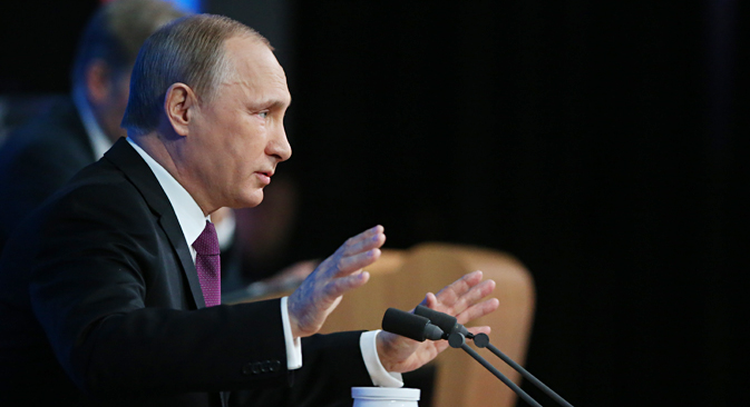Bei der Pressekonferenz des Präsidenten stand die Wirtschaft im Fokus. Foto: Konstantin Sawraschin/Rossijskaja Gaseta