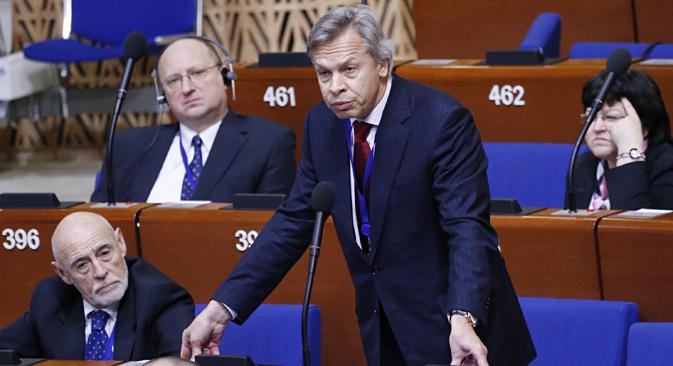 Leiter der russischen Delegation bei der Parlamentarischen Versammlung des Europarates Alexej Puschkow. Foto: Michail Dschaparidse/TASS