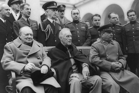 Yalta Conference in February 1945 with (from left to right) Winston Churchill, Franklin D. Roosevelt and Joseph Stalin. /U.S. Signal Corps/Library of Congress , Franklin D. Roosevelt Library & Museum