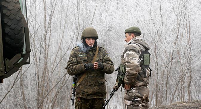 Ukrainische Soldaten in der Nähe von Debalzewo. Foto: AP
