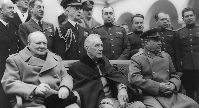 Yalta Conference in February 1945 with (from left to right) Winston Churchill, Franklin D. Roosevelt and Joseph Stalin. Source: U. S. Signal Corps/Library of Congress , Franklin D. Roosevelt Library & Museum