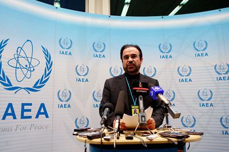 Reza Najafi, der Iran-Botschafter bei der Internationalen Atomenergie-Organisation (IAEO) während der Pressekonferenz in Wien am 4. März 2015.  Foto: Reuters