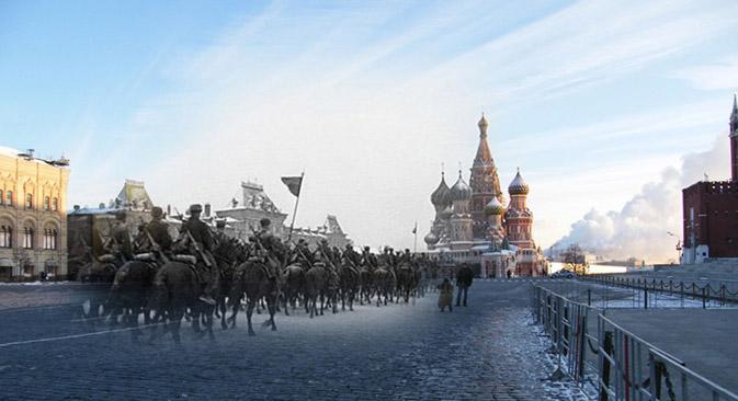 """Das Projekt """"Die Verbindung der Zeiten"""" ist eine umfangreiche Sammlung von Fotocollagen russischer und europäischer Städte — von Moskau über Berlin bis nach Paris. Foto: Sergej Larenkow"""