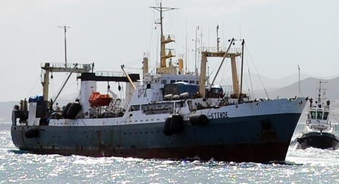 Der Fischtrawler Dalni Wostok ist am 2. April vor Kamtschatka gesunken. Foto: TASS