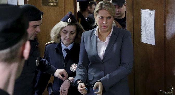 Jewgenia Wassiljewa, ehemalige Chefin des Departements für Eigentumsverhältnisse im Verteidigungsministerium wurde zu einer Freiheitsstrafe von fünf Jahren verurteilt. Foto: Reuters