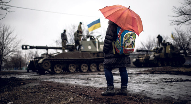 Abkommen vom 12. Februar sah unter anderem den Abzug schwerer Waffen von der Frontlinie vor. Foto: AP