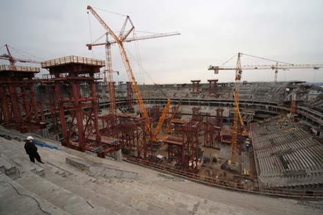 Der Neubau des historischen Kirow-Stadions auf der Krestowskij-Insel in Sankt Petersburg. Foto: RIa Novosti/Igor Russak