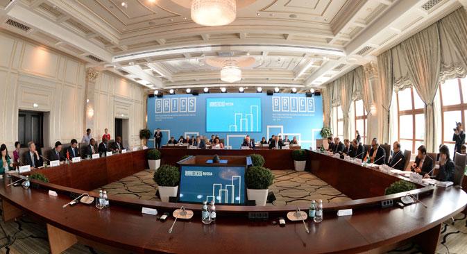 Die Chefs der Brics-Zentralbanken unterzeichneten am Dienstag in Moskau ein Abkommen über einen Währungsfonds. Foto: TASS