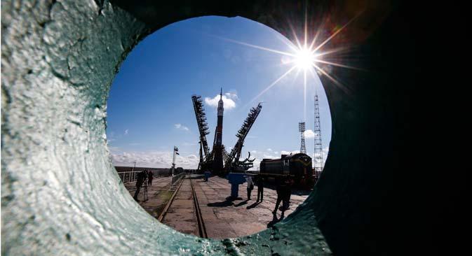 Kosmodrom Baikonur di Kazakhstan.