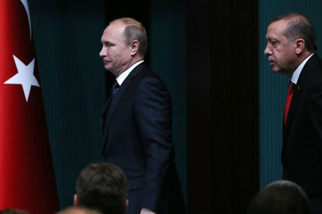 Russlands Prüsident Wladimir Putin und Präsident der Türkei Recep Tayyip Erdoğan.