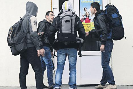Syrische Flüchtlinge im nordrussischen Murmansk.