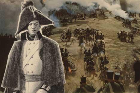 """Poster zur sowjetischen Verfilmung von """"Krieg und Frieden"""" unter der Regie von Sergei Bondartschuk. Der Film erhielt 1969 den Oscar für den besten fremdsprachigen Film."""
