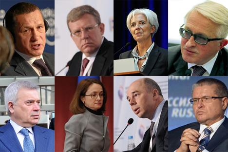 Oben (von links nach rechts): Juri Trutnew, Aleksej Kudrin, Christine Lagarde, Aleksandr Schochin. Unten (von links nach rechts): Wagit Alekperow, Elwira Nabiullina, Anton Siluanow, Aleksej Uljukajew.