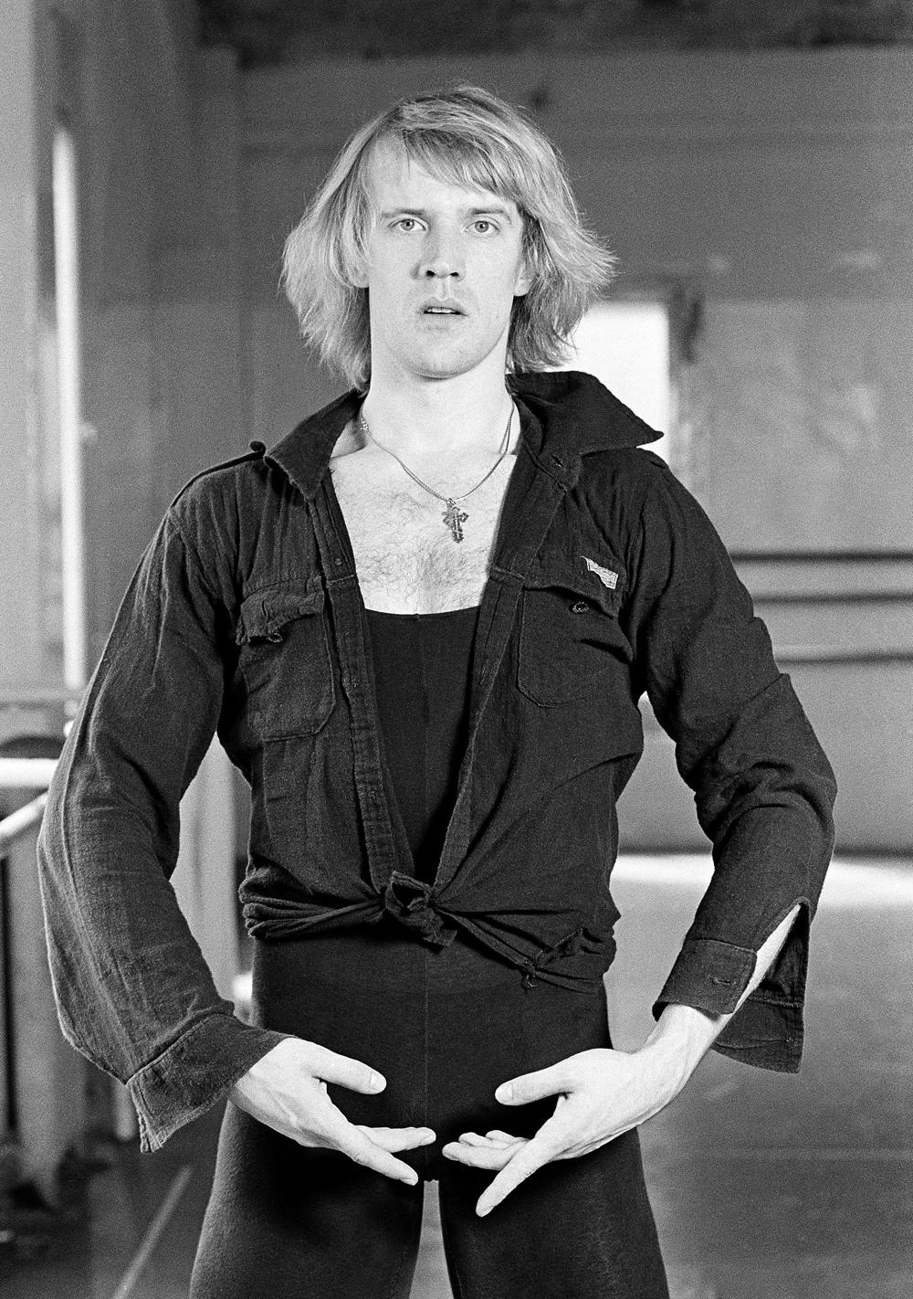 Balshoi Ballet star Alexander Godunov gestures during a press conference in New York on August 29, 1979. Source: AP