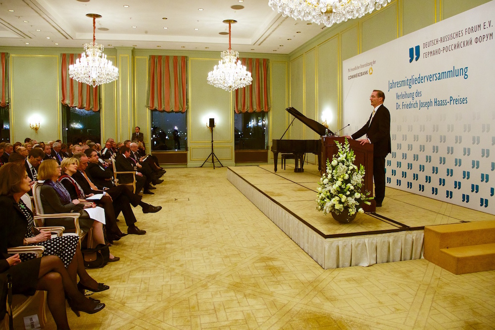 Der Vorsitzende des Deutsch-Russischen Forums, Matthias Platzeck, begrüßte die Teilnehmer der Festveranstaltung. Quelle: Deutsch-Russisches Forum e.V., Fotograf: Sascha Radke