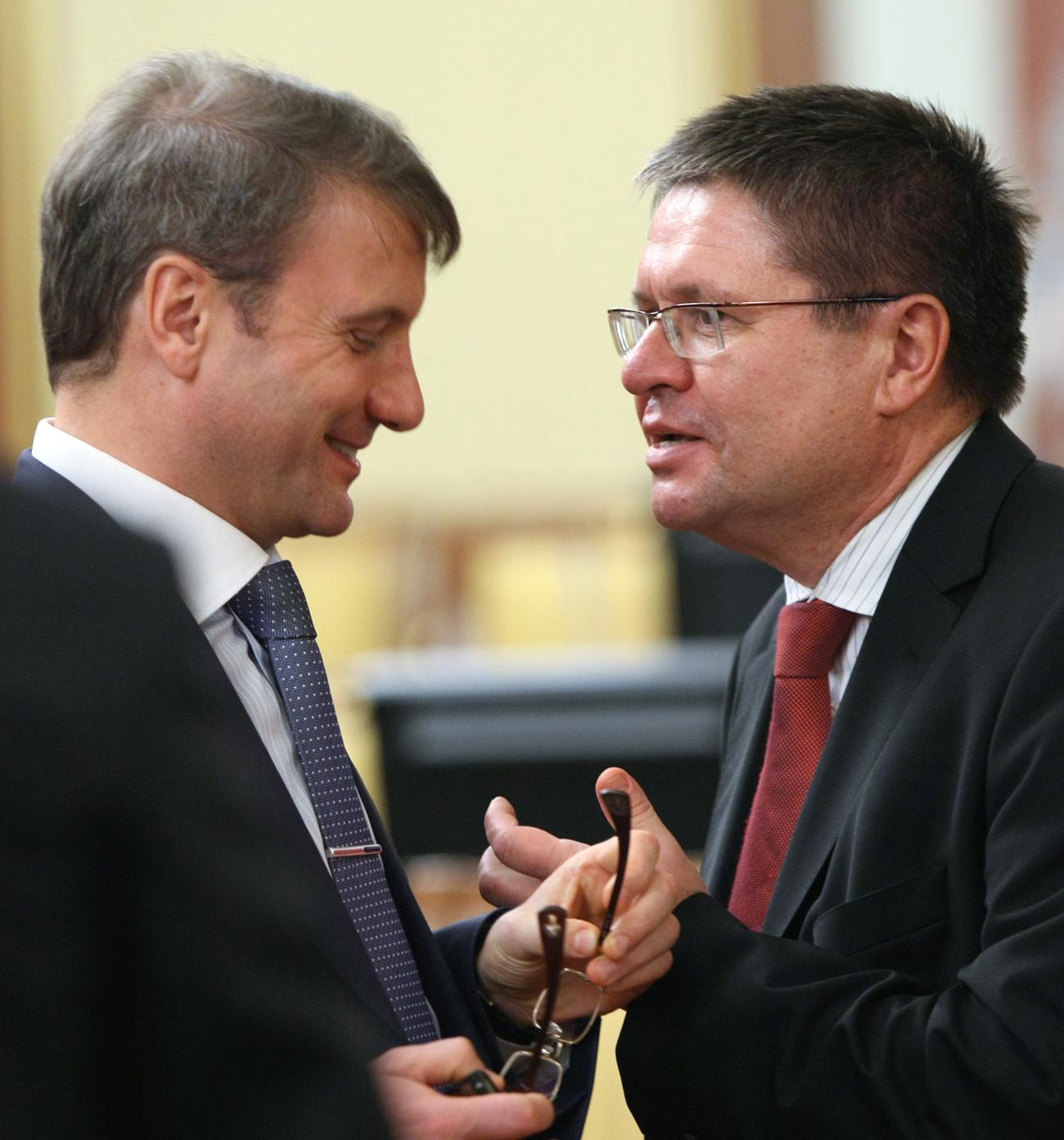 German Gref (links) arbeitete mit Uljukajew (rechts) an Reformen. Foto: RIA Novosti