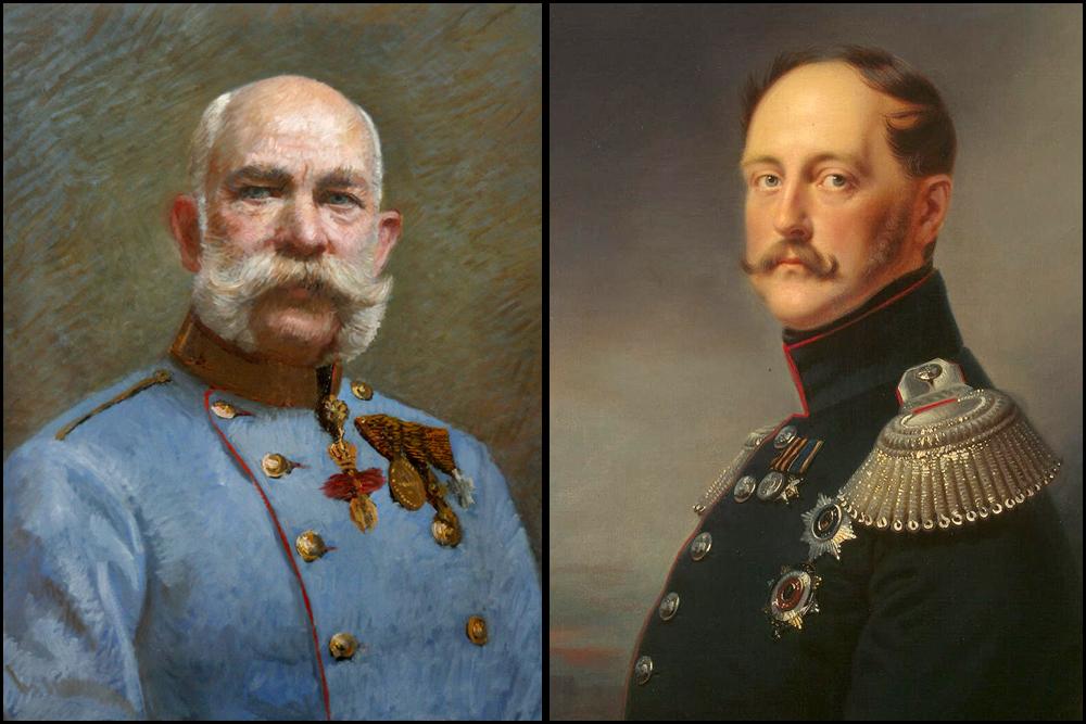 """""""Du Undankbarer"""" schrieb Nikolaus I. (r.) einmal auf einem Porträt vom österreichischen Kaiser Franz Joseph I. (l). Die Politik seines Freundes hat ihn damals für immer enttäuscht."""