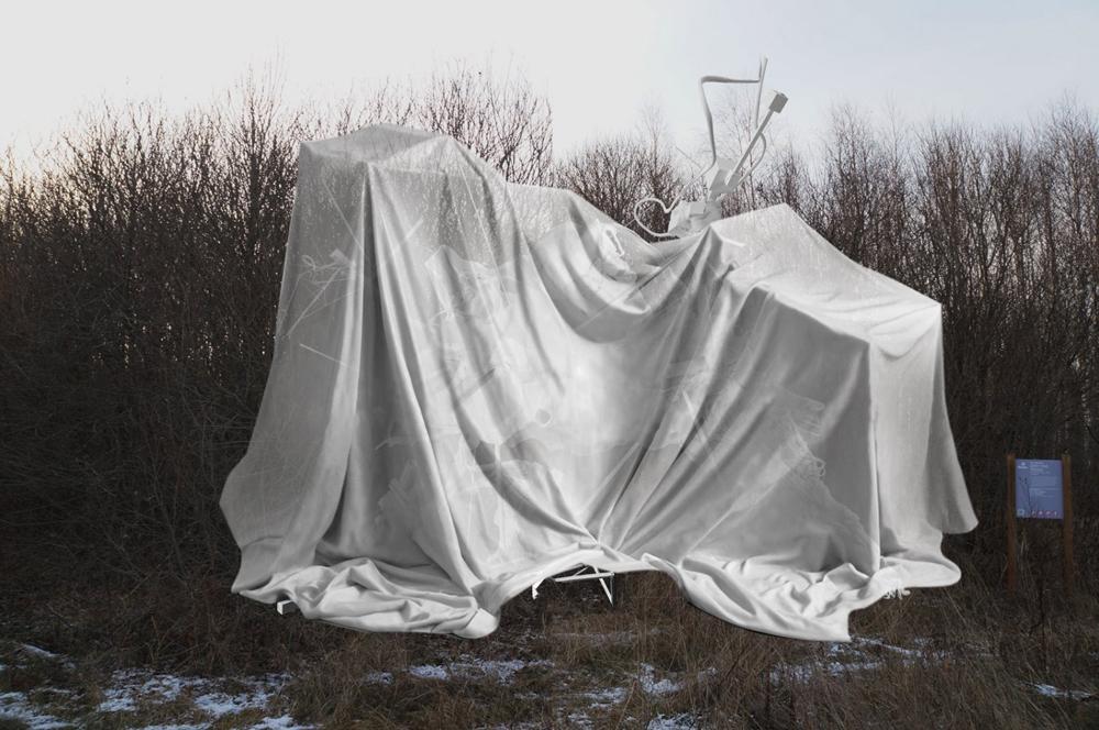 Bewohnte Skulptur. Dieses Zufluchtsort wurde aus Polymeren, Kompositen, Polyester und Glasfaser gebaut.\n