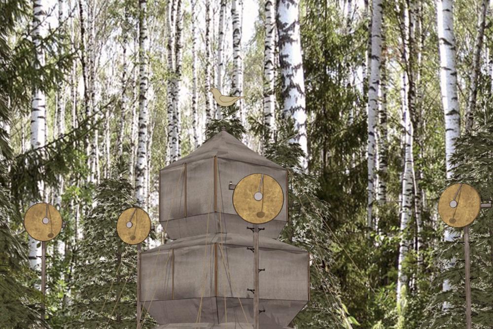 Feldpagode. Die Pagode ist in Harmonie mit der Natur. Per Videomapping werden Bilder auf ihre Oberflu00e4che projiziert.