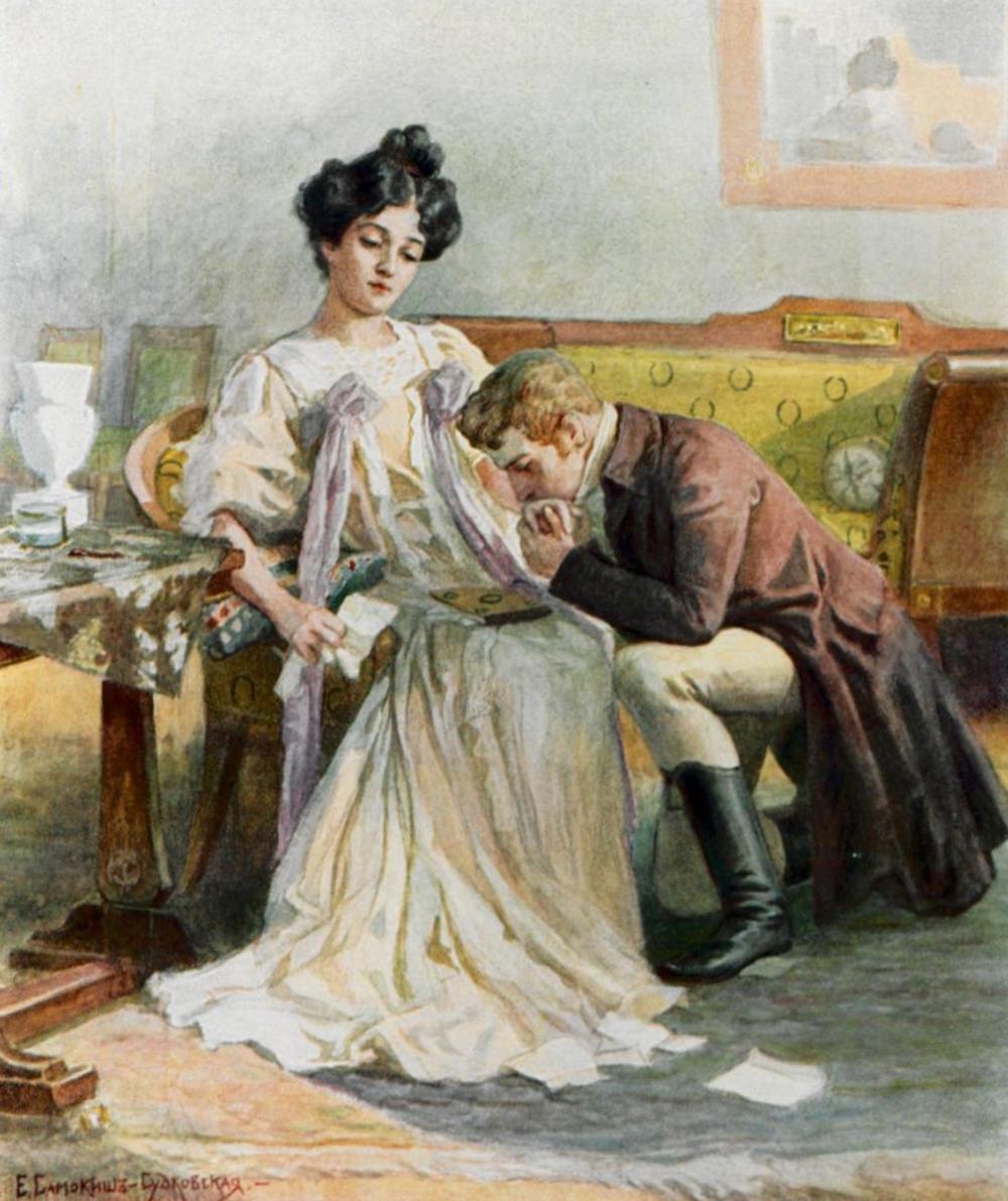 """Tatiana weist Onegin ab. Eine Szene aus dem Roman """"Eugen Onegin"""", gezeichnet von Elena Samokisch-Sudkowskaja. Quelle: wikimedia.org"""