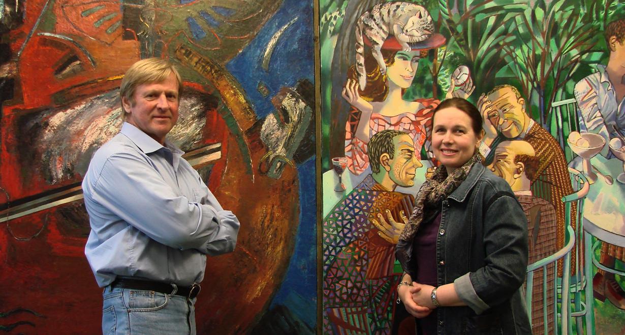 Sergej Manzerew und Olga Truschnikowa in ihrem Atelier in Moskau.