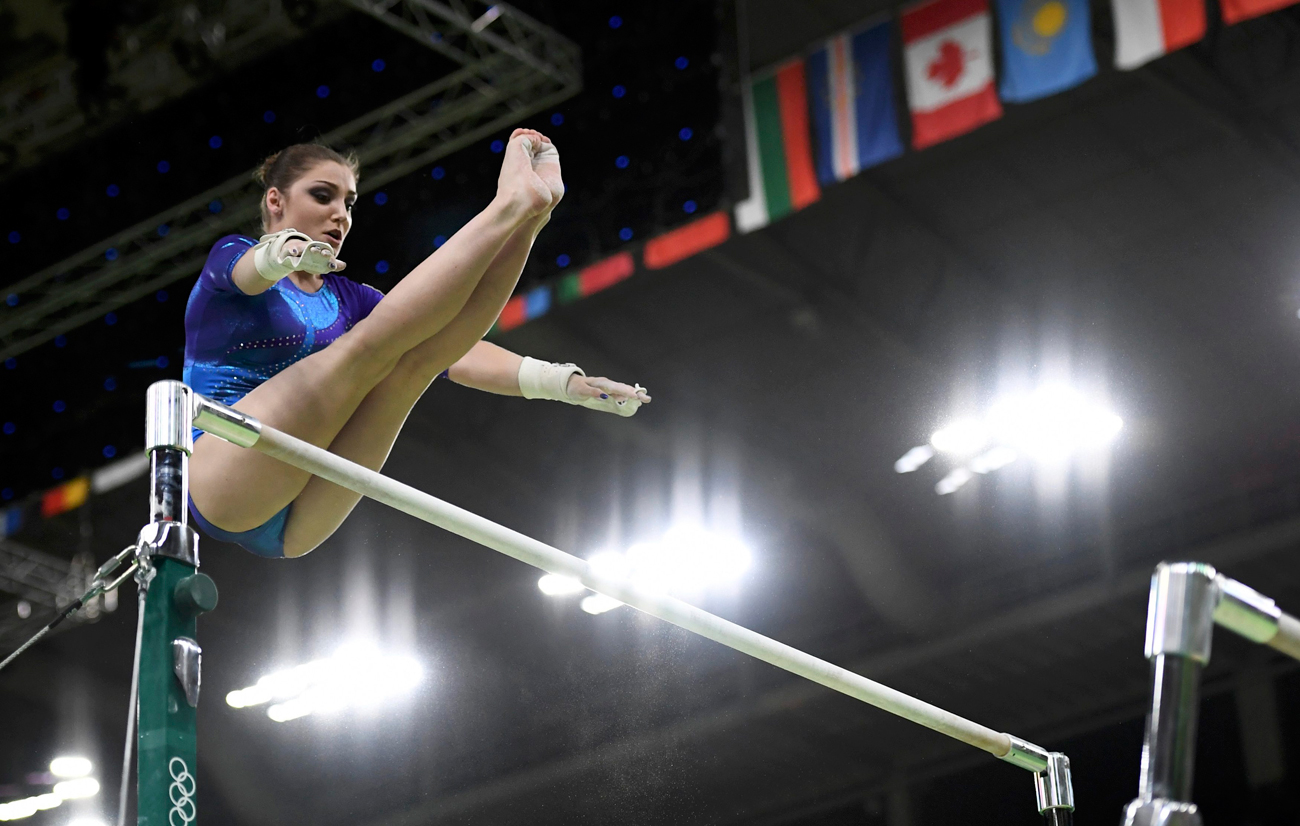 Am Stufenbarren läuft Mustafina zur Höchstform auf. Bei der letzten Olympiade holte sie Gold an ihrem Lieblingsgerät. Am vergangenen Freitag gewann Alija Bronze im Einzel-Mehrkampf.