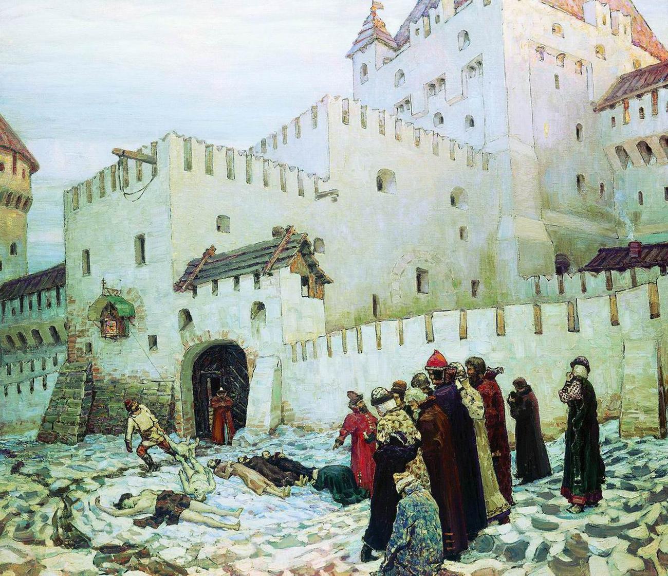 """""""Ein Moskauer Verlies aus der Epoche der Opritschniki"""". Gemälde von Appolinarij Wasnezow aus dem Jahr 1912.  / Wikipedia.org"""