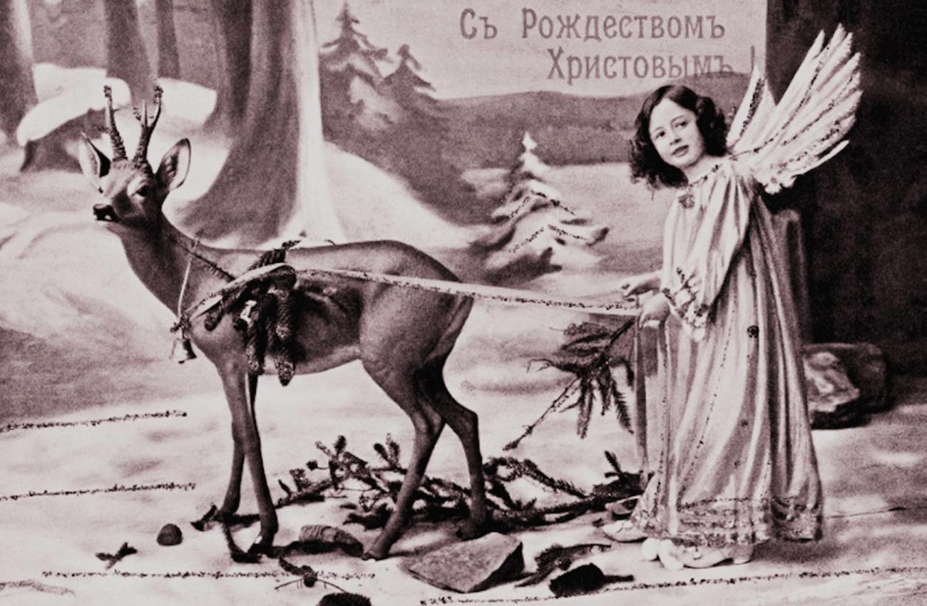 """""""Frohe Weihnachten"""" heißt es auf einer russischen Postkarte. Das Weihnachtsfest hat einen festen Platz in der russischen Literatur."""