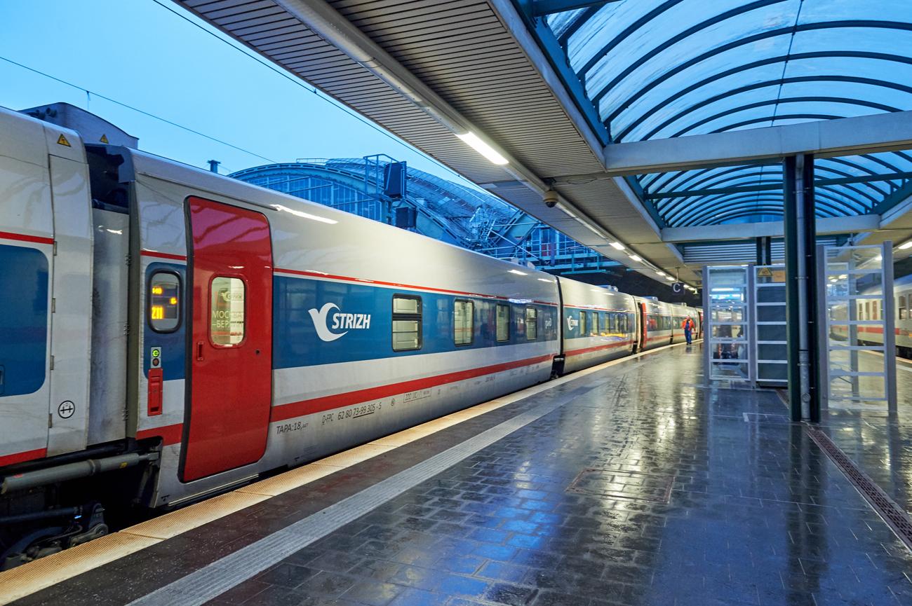 Der STRIZH mit seinem in Deutschland noch ungewohnten Design im Berliner Ostbahnhof.