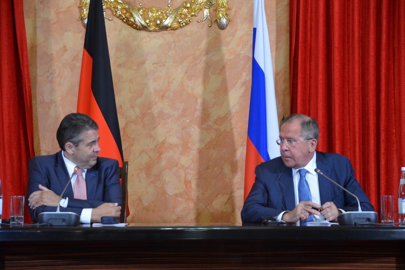 Sergej Lawrow und Sigmar Gabriel geben Pressekonferenz in Krasnodar, 28. Juni 2917