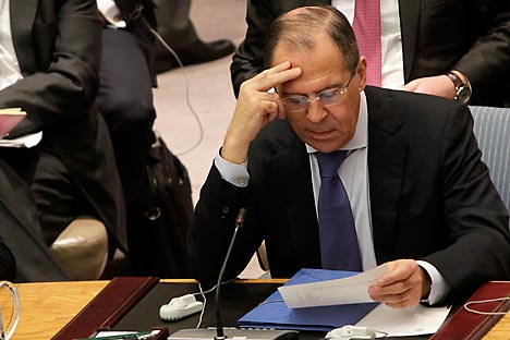 Russian Foreign Minister Sergei Lavrov attends a Security Council meeting regarding the situation in the Middle East at United Nations Headquarters, Monday, March 12, 2012. Source: AP