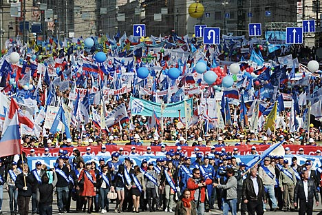 Russia celebrating the Labor Day, May 1, 2012.