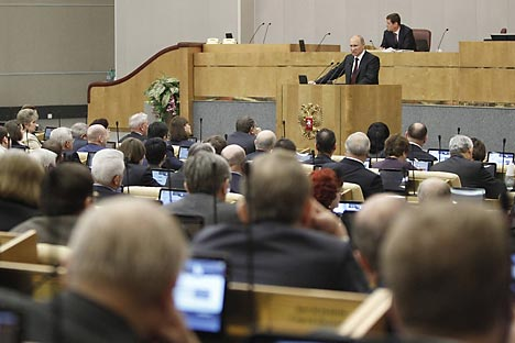 April 11, 2012. Russian Prime Minister Vladimir Putin addresses the Russian State Duma with the final report on the work of the current government. Source: Reuters