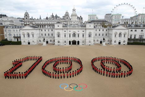 Celebrations took place across the UK to mark 100 days to go to the London 2012 Olympic Games – including at Horse Guards Parade in central London. Source: Reuters/Vostok-Photo