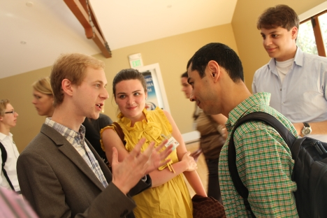 David Yang (right), the founder of ABBYY, talking with the Russian and American students at the Stanford U.S.-Russia Forum (SURF). Source: Pavel Koshkin