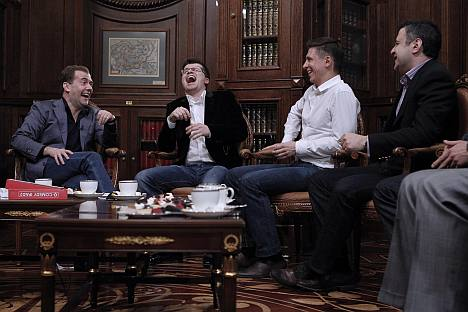 Dmitry Medvedev shares a laugh with actors of Comedy Club TV show Igor Kharlamov, Timur Batrutdinov and Garik Martirosyan at Gorki residence.